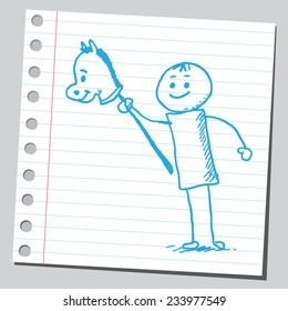 Kid with horse stick