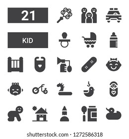 kid icon set. Collection of 21 filled kid icons included Duck, Baby food, Birthday girl, Kindergarden, Baby, Inflatable, Tricycle, Skate, Breast pump, Bib, Cradle, Feeder, Stroller