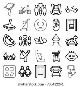 Kid icons. set of 25 editable outline kid icons such as baby, baby bed, bike, whirligig, playpen, sligshot, swing, family, toy horse, beanbag, child bicycle