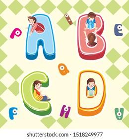 kid illustration play in ABCD alphabet icon. children inside the ABCD alphabet icon element illustration. editable flat design vector.