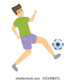 Kid kicks soccer ball icon. Cartoon of kid kicking soccer  ball vector icon for web design isolated on white background