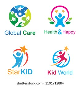 kid logo set, people logo collection, health care logo, playful kid, healthy kid,  creative kid
