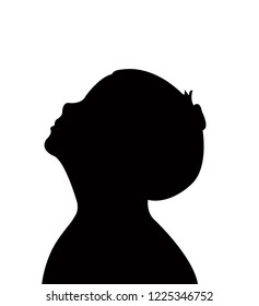 a kid looking up, head silhouette vector