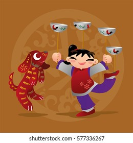 Kid loves playing with Chinese zodiac animal - Dog  Translation of background Chinese character: The Year of the Dog