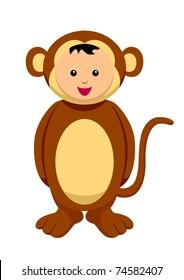 Kid with monkey costume