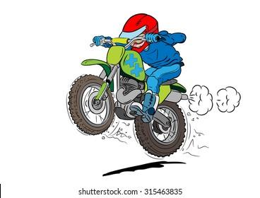 Kid motocross biker in action