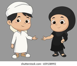 kid muslim welcome.vector and illustration.