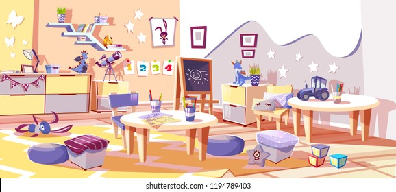 Kid nursery room or kindergarten interior vector illustration in cozy Scandinavian style. Tables with children drawing pencils, car and dragon toys with chalkboard and pillows on carpet