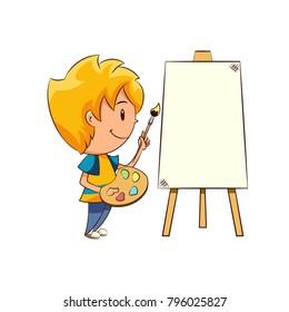 Kid painting, blank canvas