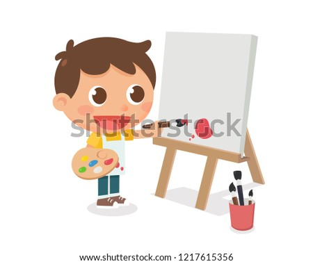 498c08439b376f A kid is painting on a canvas frame. Flat character design. vector  illustration.