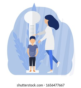 Kid and pediatrician flat vector illustrations. Doctor measuring child height. Medic and patient cartoon characters. Healthcare concept