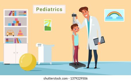 Kid in pediatrics clinic flat illustration. Senior pediatrician measuring boy height. Scared toddler in medical office isolated clipart. Medic and patient cartoon characters. Doctor appointment