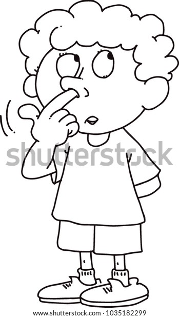 Kid Picks His Nose Stock Image | Download Now
