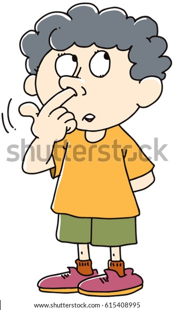 Kid Picks His Nose Stock Vector (Royalty Free) 615408995