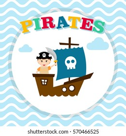 Kid in pirate costume poster. Birthday and party invitation card in pirate theme concept