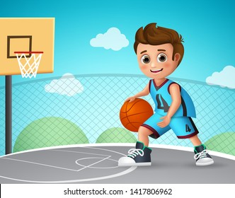 Kid playing basketball vector character. Young school boy wearing basketball uniform in basketball court while doing his dribbling style. Vector illustration.