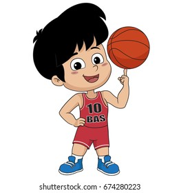 kid playing basketball.vector and illustration.