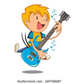 Kid playing electric guitar, vector illustration