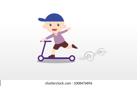 Kid playing push scooter vector