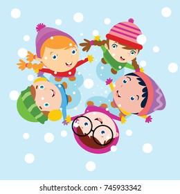 Kid playing in snow, Children play in winter series illustration.