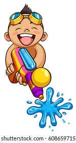 kid playing water gun vector illustration