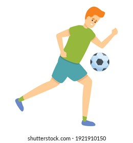 Kid plays soccer, icon. Cartoon of kid playing soccer, vector icon for web design isolated on white background