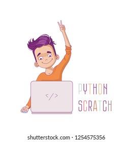 Kid programming. Kid's coding vector illustration. Young programmer coding at the laptop. Kid programming logo inspiration.