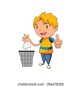 Kid putting trash in its place, vector illustration