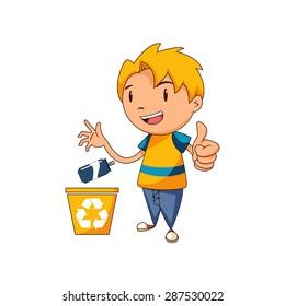 Kid recycling aluminum, vector illustration