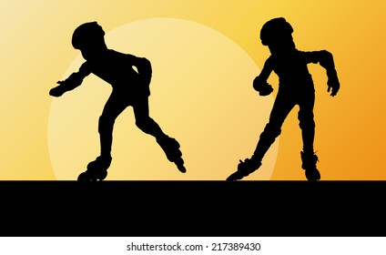 Kid roller skating in park vector background concept
