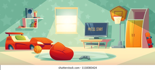 Kid room vector illustration of video game console, TV monitor or display and joystick. Boy cartoon bedroom interior background with furniture, car bed or bookshelf and basketball, skateboard