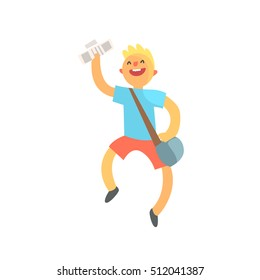 Kid Running With Handbag Full Of Newspapers Smiling