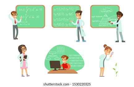 Kid Scientists Set, Boys and Girls in Lab Coats Doing Science Research and Writing Formulas on Chalkboard Vector Illustration