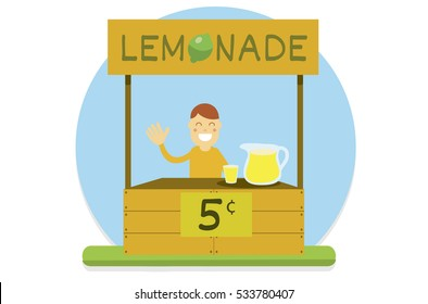 A kid selling lemonade on a wood stand.