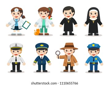 Kid Set of different professions. Doctor, Veterinary, Bishop, Nun, Police, Detective, Naval, Air Force. Vector illustration in a flat style