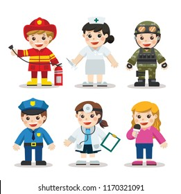 Kid Set of different professions. Doctor, Nurse, Soldier, Journalist, Police, Fireman. Vector illustration in a flat style