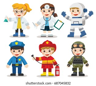 Kid Set of different professions. Doctor, Scientist, Soldier, Astronaut, Police, Fireman. Vector illustration in a flat style. Isolated vector