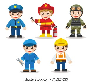 Kid Set of different professions. Doctor, Mechanic, Soldier, Engineer, Police, Fireman. Vector illustration in a flat style