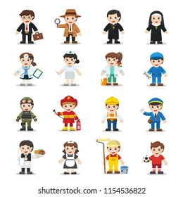 Kid Set of different professions. Vector illustration in a flat style