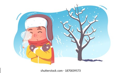 Kid shivering in chilling cold winter season weather. Freezing child wearing earflaps hat and scarf experiencing below zero temperature outdoors blowing mouth steam. Flat vector character illustration