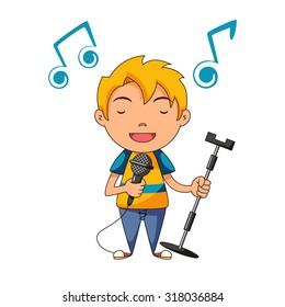 Kid singing, vector illustration