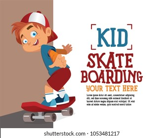 Kid skate boarding character illustration