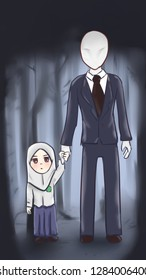 Kid with Slenderman, horror forest, student