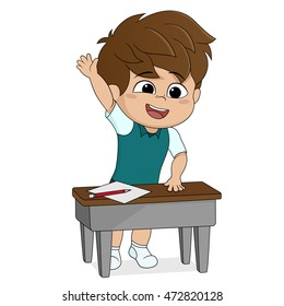 kid stand up and ask a question.back to school.vector and illustration