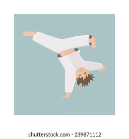 Kid standing on the one hand. child capoeira dancer pose