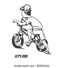 Kid starting bmx ride. EPS10 vector illustration