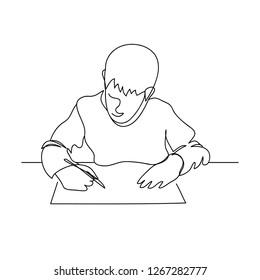 Kid student in classroom studying one line art drawing vector. Studen doing homework minimal illustration.