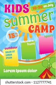 Kid Summer Camp Template Design, Children Camping Flyer, Summer Holiday advert, Kid Event Invitation