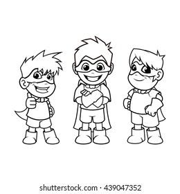 Kid Super Heroes Cartoon Character Outline Version Vector Illustration