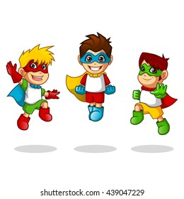 Kid Super Heroes with Jumping Flying Pose Cartoon Character Vector Illustration